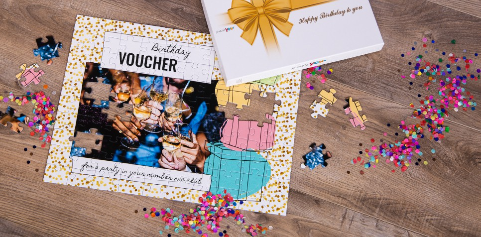 gift voucher on a jigsaw - birthday