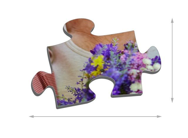 500 pieces photo puzzle: Size of the puzzle pieces