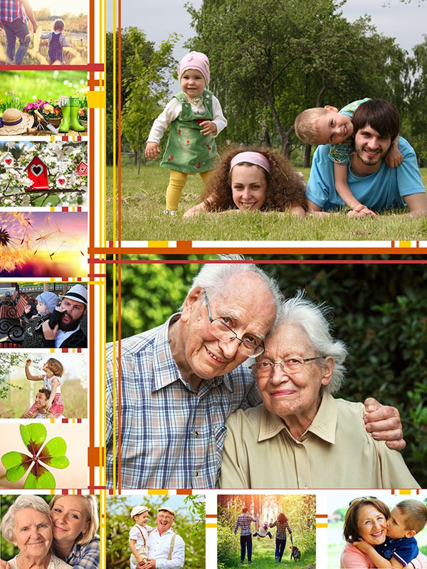 Photo Puzzle with Illustration collage 13 Photos