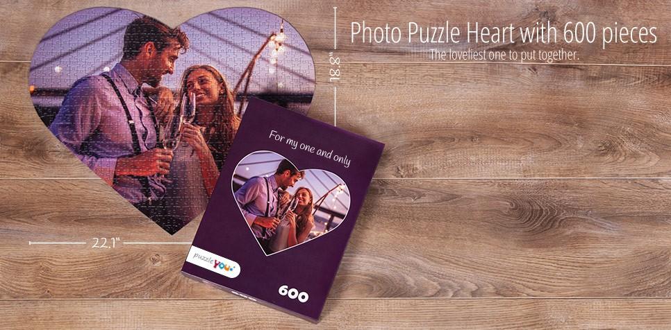 600 pieces photo puzzle, Heart puzzle
