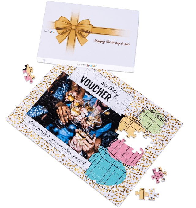 Gift voucher puzzle as birthday gift