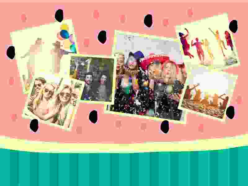 Photo Puzzle with Illustration collage 6 Photos