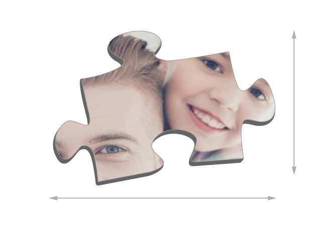 200 pieces photo puzzle: Size of the puzzle pieces