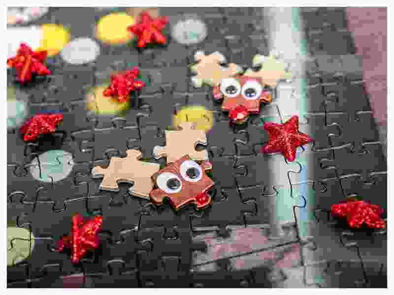 DIY Christmas decoration puzzle reindeer