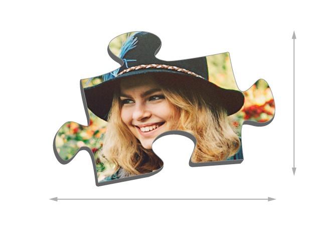 100 pieces photo puzzle: Size of the puzzle pieces