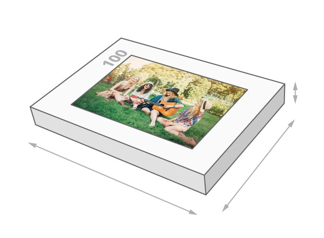 Photo puzzle with 100 pieces, box size