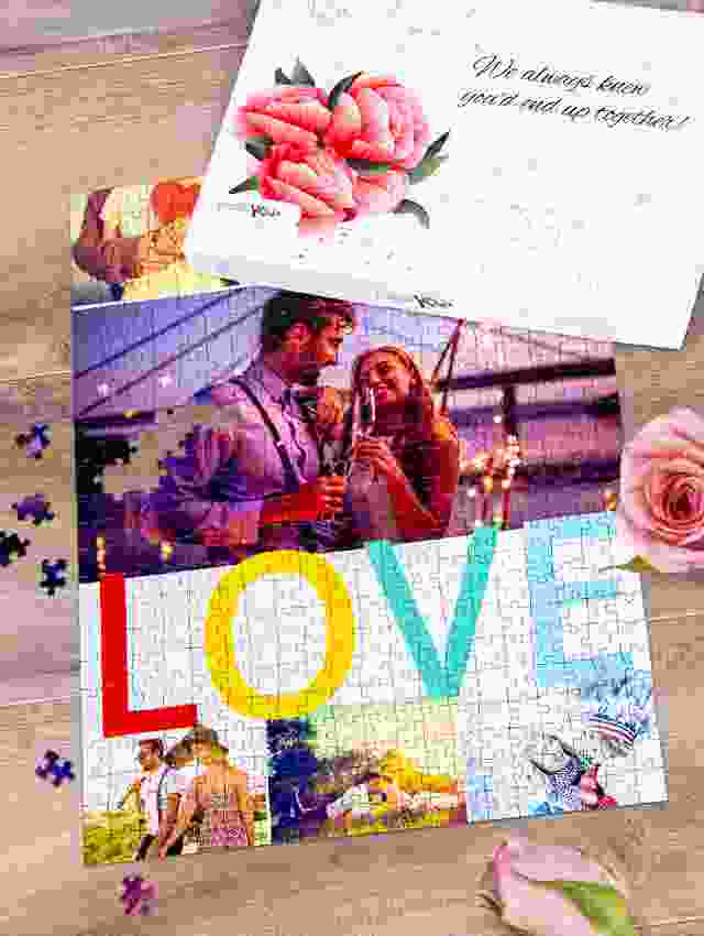 Create a photo puzzle as wedding gift